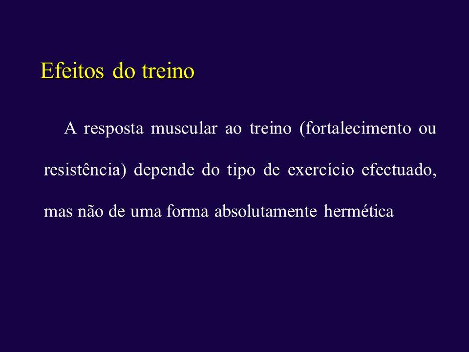 Efeitos do treino A resposta muscular ao treino (fortalecimento ou resistência) depende do tipo de exercício efectuado, mas não de uma forma absolutam
