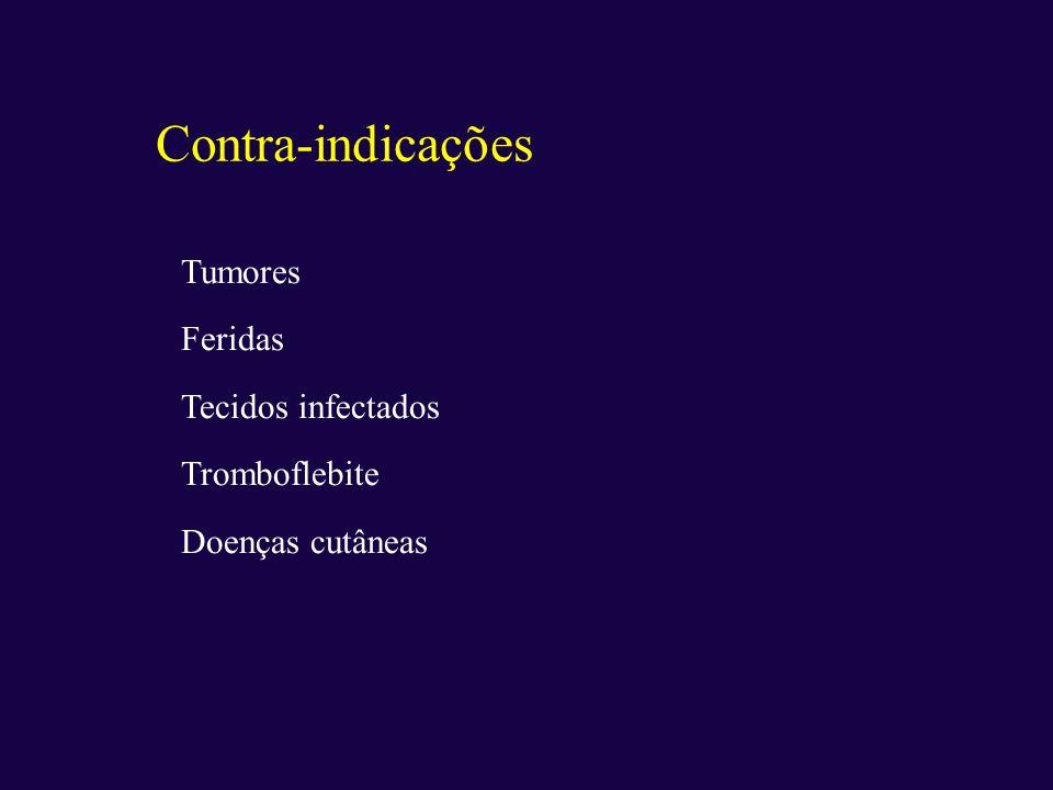 Tumores Feridas Tecidos infectados Tromboflebite Doenças cutâneas Contra-indicações