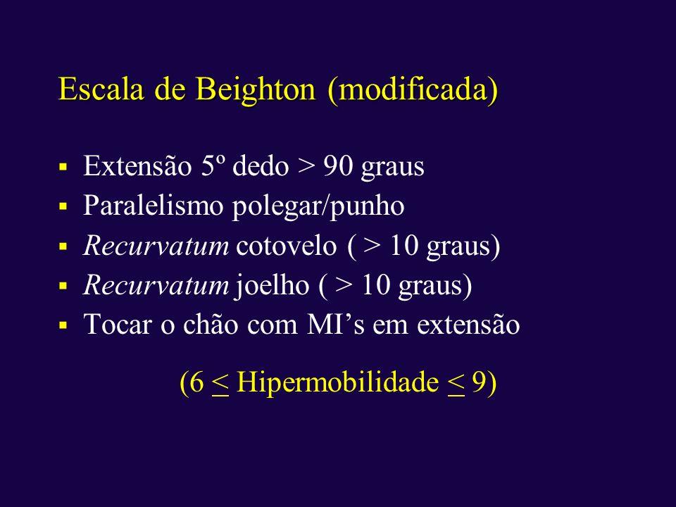 Escala de Beighton (modificada) Extensão 5º dedo > 90 graus Paralelismo polegar/punho Recurvatum cotovelo ( > 10 graus) Recurvatum joelho ( > 10 graus