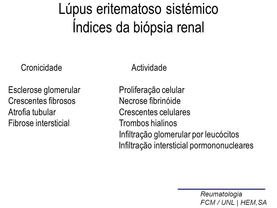 Lúpus eritematoso sistémico Índices da biópsia renal Cronicidade Actividade Esclerose glomerularProliferação celular Crescentes fibrososNecrose fibrinóide Atrofia tubularCrescentes celulares Fibrose intersticialTrombos hialinos Infiltração glomerular por leucócitos Infiltração intersticial pormononucleares Reumatologia FCM / UNL | HEM,SA