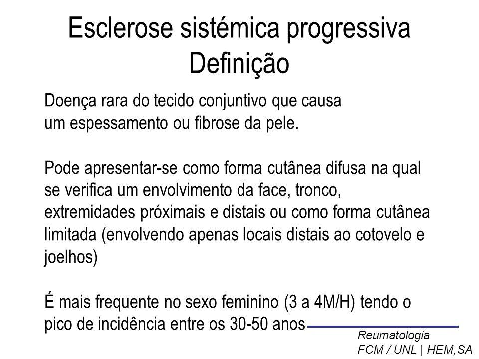 Esclerose sistémica progressiva Definição Doença rara do tecido conjuntivo que causa um espessamento ou fibrose da pele.