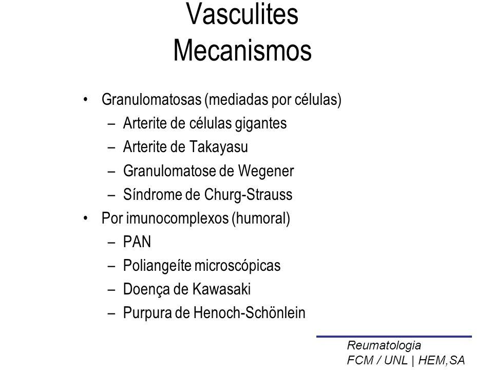 Vasculites Mecanismos Granulomatosas (mediadas por células) –Arterite de células gigantes –Arterite de Takayasu –Granulomatose de Wegener –Síndrome de Churg-Strauss Por imunocomplexos (humoral) –PAN –Poliangeíte microscópicas –Doença de Kawasaki –Purpura de Henoch-Schönlein Reumatologia FCM / UNL | HEM,SA
