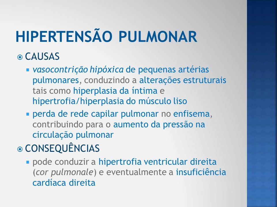 CAUSAS vasocontrição hipóxica de pequenas artérias pulmonares, conduzindo a alterações estruturais tais como hiperplasia da íntima e hipertrofia/hiper