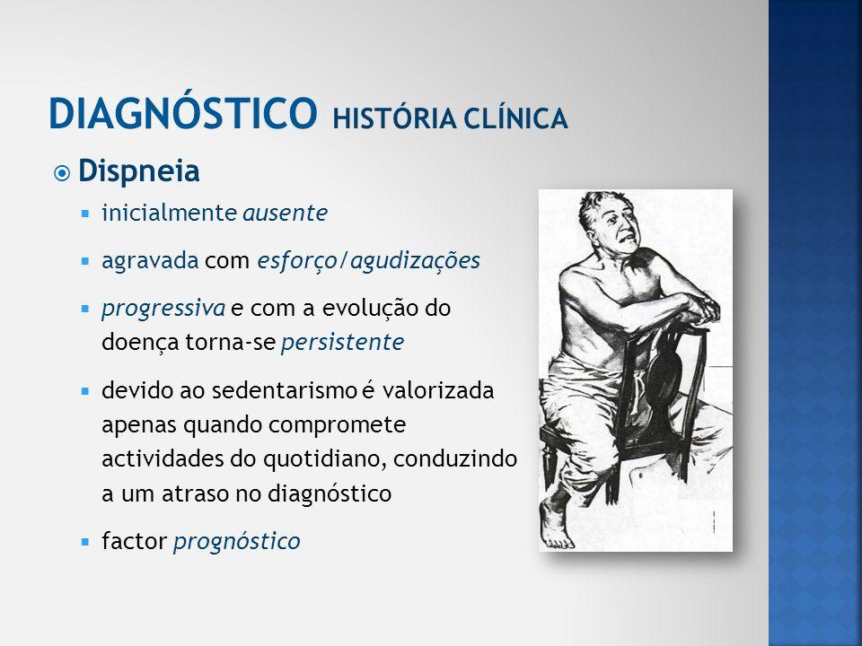 Dispneia inicialmente ausente agravada com esforço/agudizações progressiva e com a evolução do doença torna-se persistente devido ao sedentarismo é va