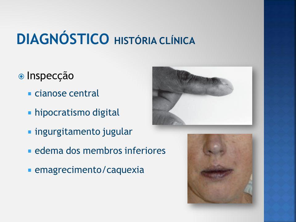 Inspecção cianose central hipocratismo digital ingurgitamento jugular edema dos membros inferiores emagrecimento/caquexia