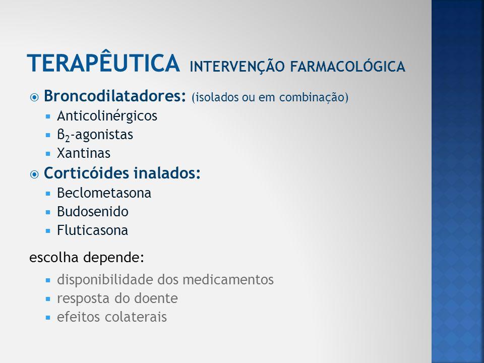 Broncodilatadores: (isolados ou em combinação) Anticolinérgicos β 2 -agonistas Xantinas Corticóides inalados: Beclometasona Budosenido Fluticasona esc
