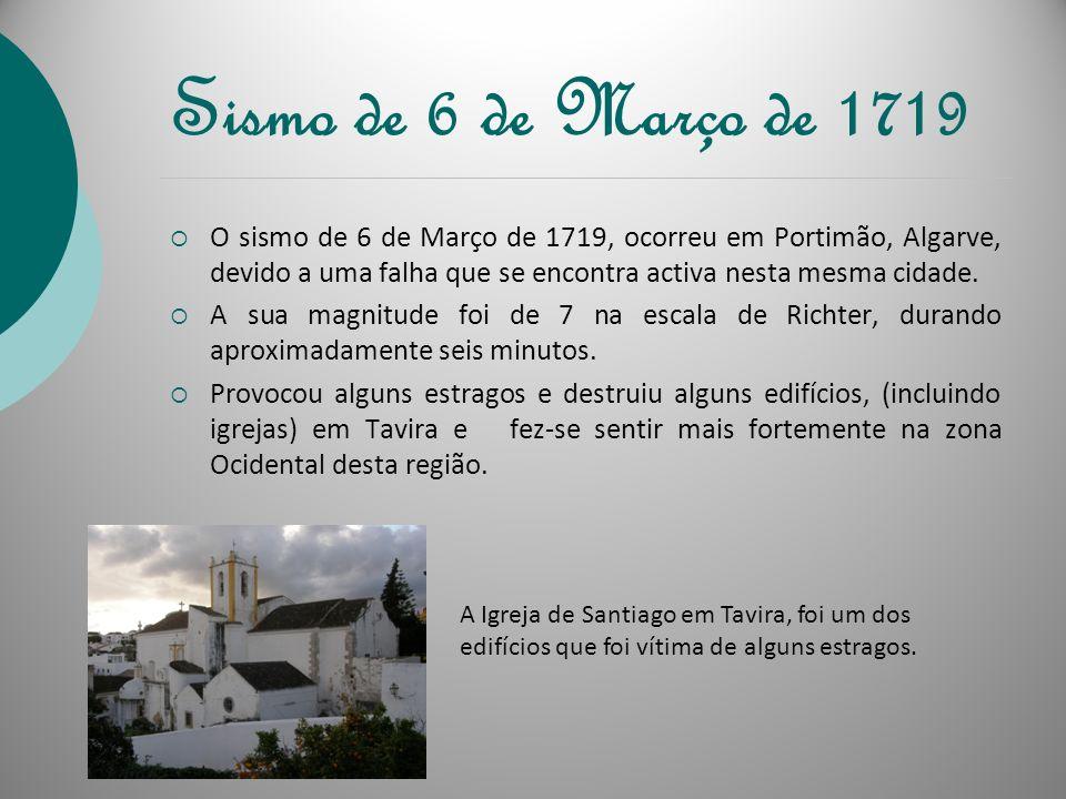 Datas dos sismos mais importantes ocorridos em Tavira Alguns dos sismos mais importantes que ocorreram em Tavira foram: 6 de Março de 1719; 27 de Deze
