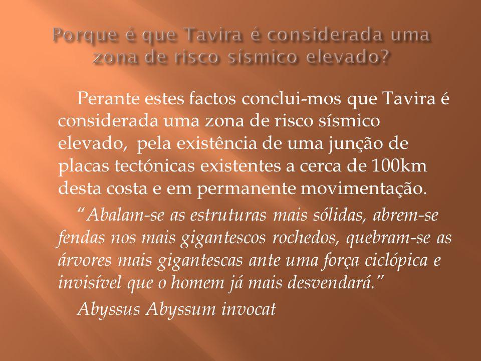 Perante estes factos conclui-mos que Tavira é considerada uma zona de risco sísmico elevado, pela existência de uma junção de placas tectónicas existentes a cerca de 100km desta costa e em permanente movimentação.