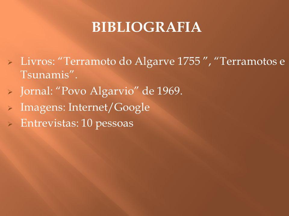BIBLIOGRAFIA Livros: Terramoto do Algarve 1755, Terramotos e Tsunamis. Jornal: Povo Algarvio de 1969. Imagens: Internet/Google Entrevistas: 10 pessoas
