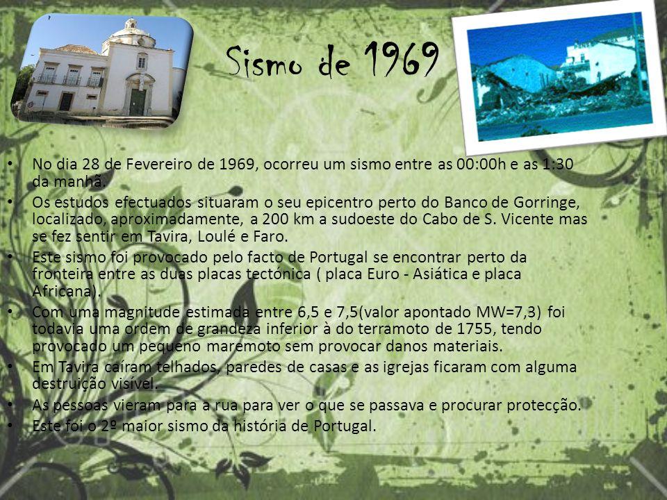 Sismo de 1969 No dia 28 de Fevereiro de 1969, ocorreu um sismo entre as 00:00h e as 1:30 da manhã.