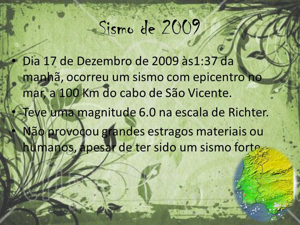Sismo de 2009 Dia 17 de Dezembro de 2009 às1:37 da manhã, ocorreu um sismo com epicentro no mar, a 100 Km do cabo de São Vicente.