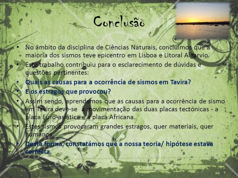 Conclusão No âmbito da disciplina de Ciências Naturais, concluimos que a maioria dos sismos teve epicentro em Lisboa e Litoral Algarvio.
