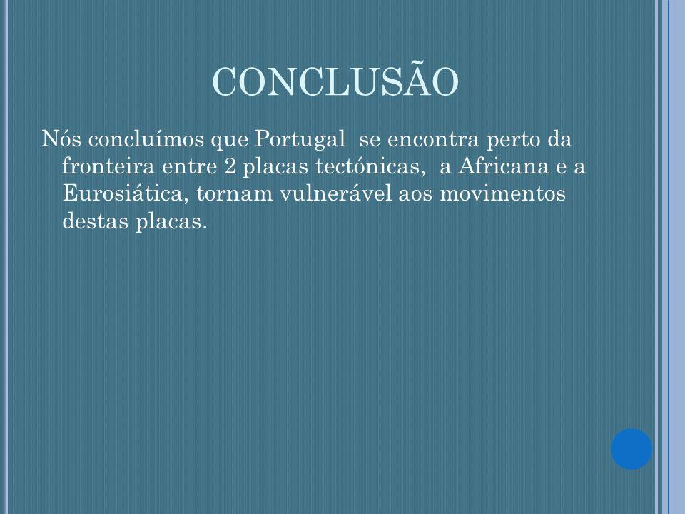 CONCLUSÃO Nós concluímos que Portugal se encontra perto da fronteira entre 2 placas tectónicas, a Africana e a Eurosiática, tornam vulnerável aos movi