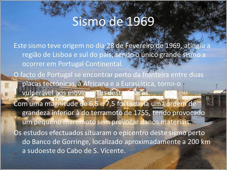 Sismo de 1969 Este sismo teve origem no dia 28 de Fevereiro de 1969, atingiu a região de Lisboa e sul do país, sendo o único grande sismo a ocorrer em