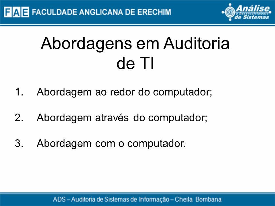 Abordagens em Auditoria de TI 1. Abordagem ao redor do computador; 2. Abordagem através do computador; 3. Abordagem com o computador.