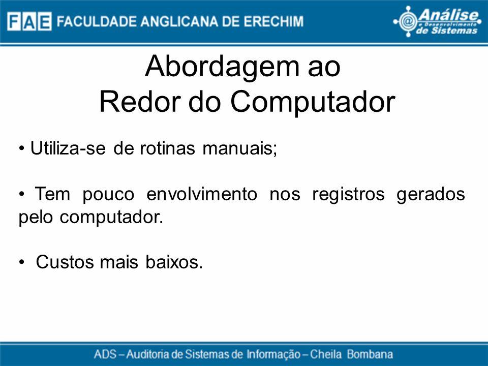 Abordagem ao Redor do Computador Utiliza-se de rotinas manuais; Tem pouco envolvimento nos registros gerados pelo computador. Custos mais baixos.