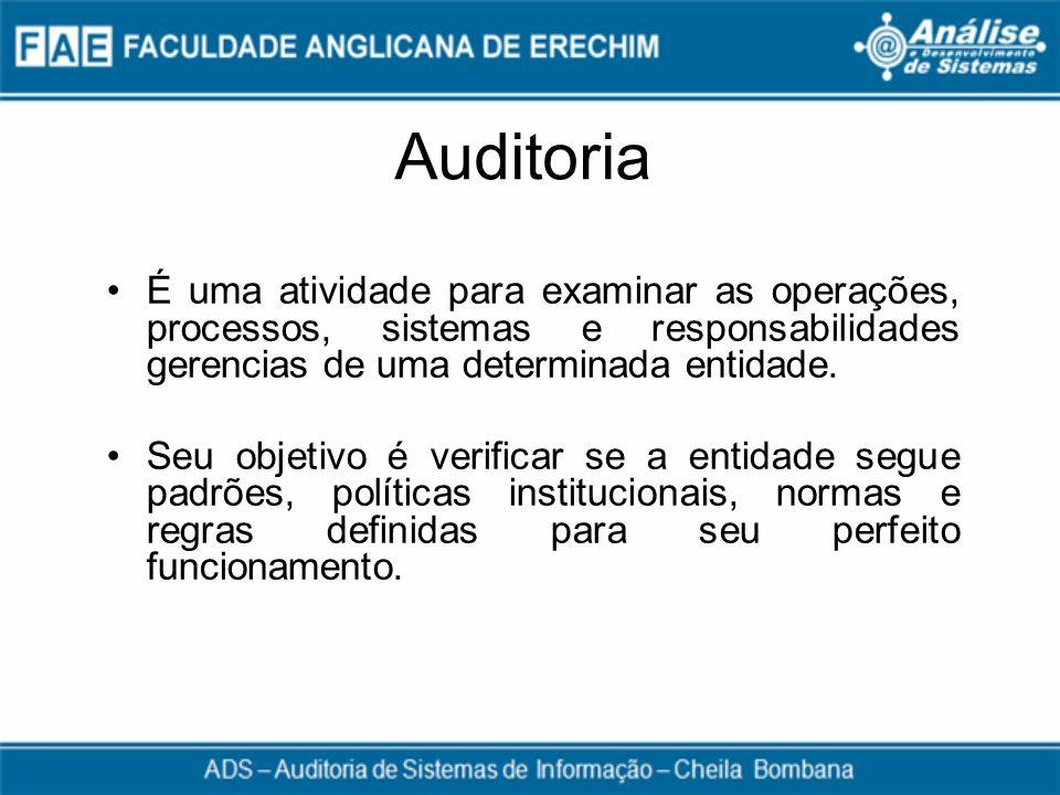 Auditoria É uma atividade para examinar as operações, processos, sistemas e responsabilidades gerencias de uma determinada entidade. Seu objetivo é ve