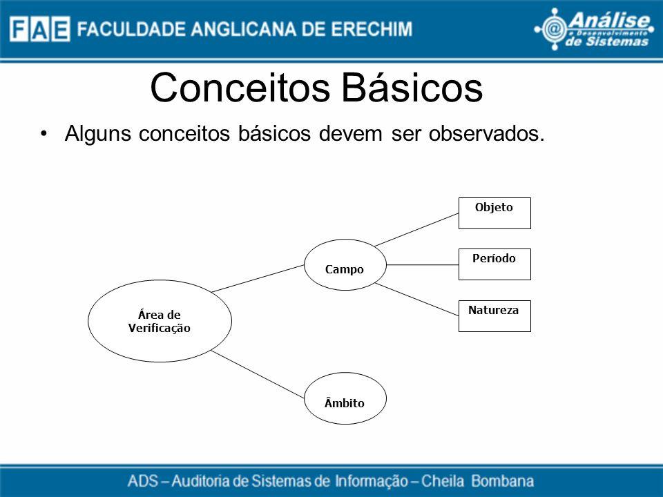 Conceitos Básicos Alguns conceitos básicos devem ser observados. Área de Verificação Campo Âmbito Objeto Período Natureza