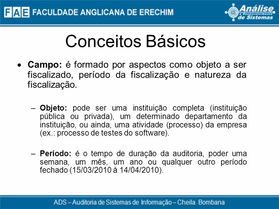 Conceitos Básicos Campo: é formado por aspectos como objeto a ser fiscalizado, período da fiscalização e natureza da fiscalização. –Objeto: pode ser u