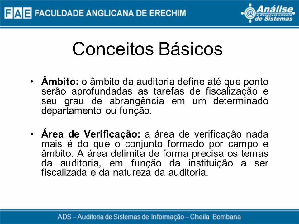Conceitos Básicos Âmbito: o âmbito da auditoria define até que ponto serão aprofundadas as tarefas de fiscalização e seu grau de abrangência em um det