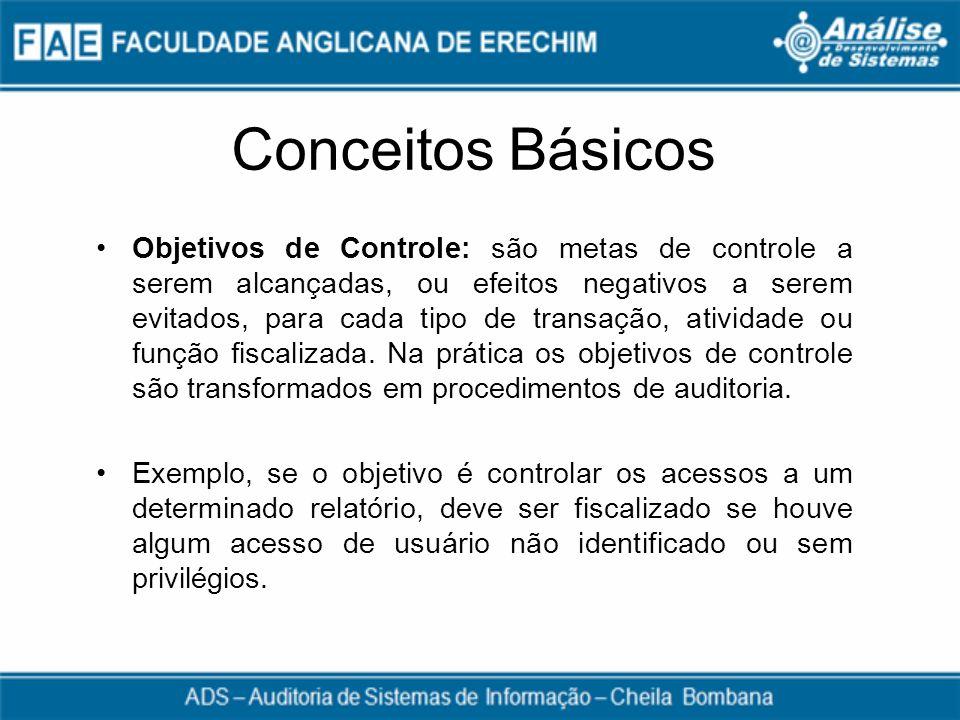 Conceitos Básicos Objetivos de Controle: são metas de controle a serem alcançadas, ou efeitos negativos a serem evitados, para cada tipo de transação,