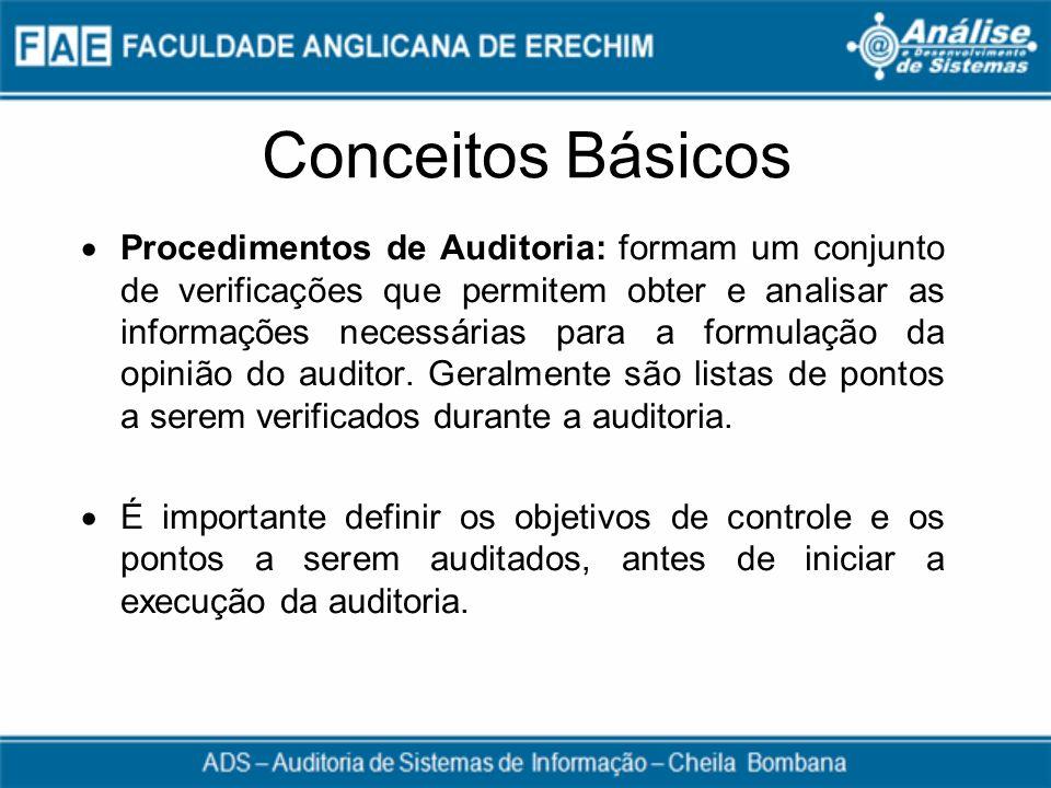Conceitos Básicos Procedimentos de Auditoria: formam um conjunto de verificações que permitem obter e analisar as informações necessárias para a formu