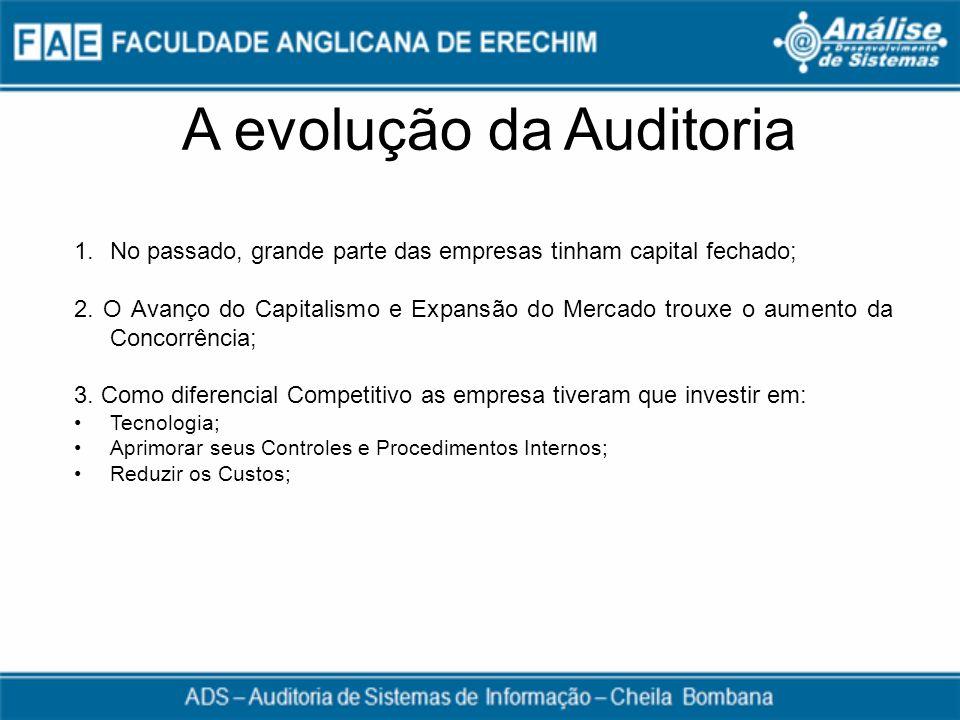 A evolução da Auditoria 1.No passado, grande parte das empresas tinham capital fechado; 2. O Avanço do Capitalismo e Expansão do Mercado trouxe o aume
