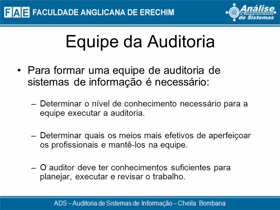 Equipe da Auditoria Para formar uma equipe de auditoria de sistemas de informação é necessário: –Determinar o nível de conhecimento necessário para a