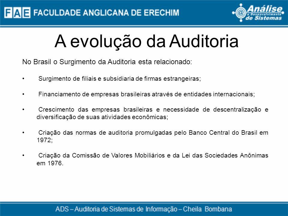 A evolução da Auditoria No Brasil o Surgimento da Auditoria esta relacionado: Surgimento de filiais e subsidiaria de firmas estrangeiras; Financiament