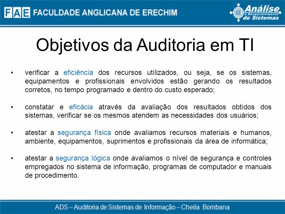 Objetivos da Auditoria em TI verificar a eficiência dos recursos utilizados, ou seja, se os sistemas, equipamentos e profissionais envolvidos estão ge
