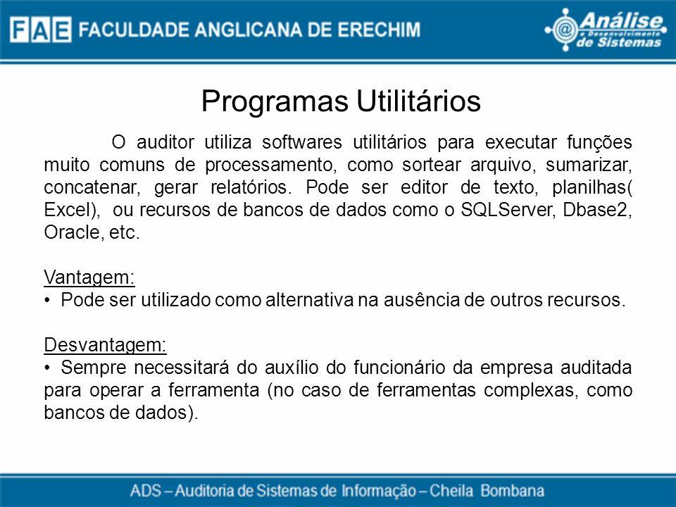 Programas Utilitários O auditor utiliza softwares utilitários para executar funções muito comuns de processamento, como sortear arquivo, sumarizar, co