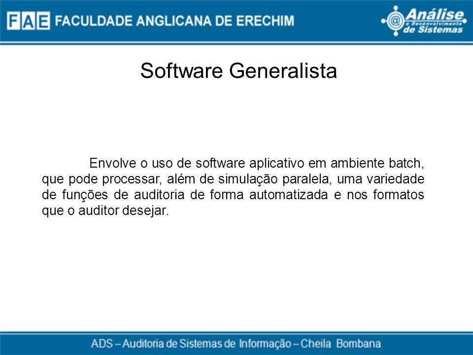 Software Generalista Envolve o uso de software aplicativo em ambiente batch, que pode processar, além de simulação paralela, uma variedade de funções