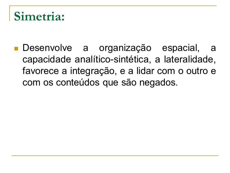 Simetria: Desenvolve a organização espacial, a capacidade analítico-sintética, a lateralidade, favorece a integração, e a lidar com o outro e com os c