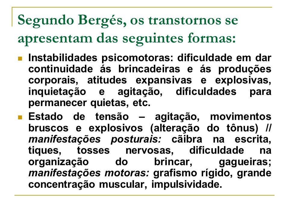Segundo Bergés, os transtornos se apresentam das seguintes formas: Instabilidades psicomotoras: dificuldade em dar continuidade ás brincadeiras e ás p