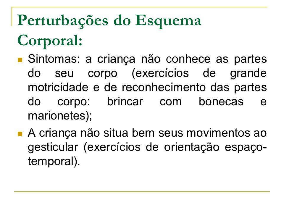 Perturbações do Esquema Corporal: Sintomas: a criança não conhece as partes do seu corpo (exercícios de grande motricidade e de reconhecimento das par
