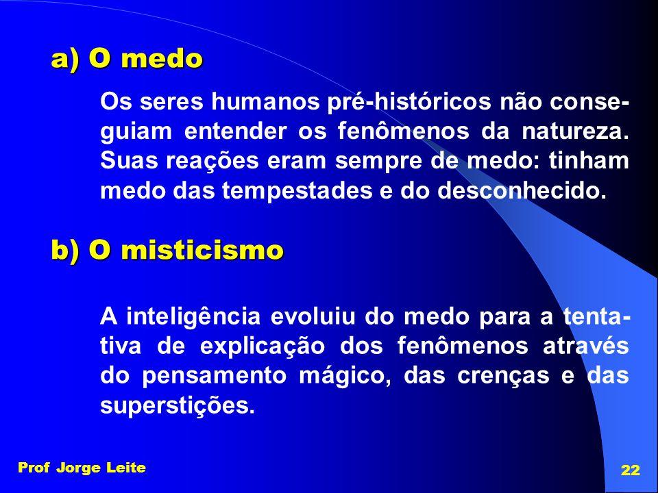 Prof Jorge Leite 22 a) O medo b) O misticismo Os seres humanos pré-históricos não conse- guiam entender os fenômenos da natureza. Suas reações eram se