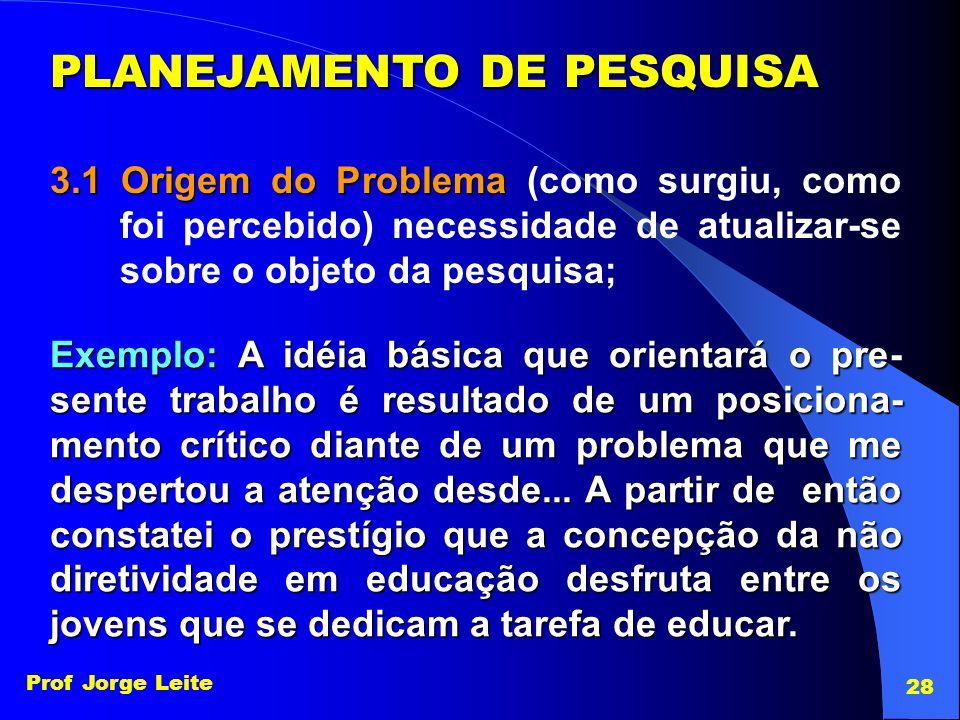 PLANEJAMENTO DE PESQUISA 3.1 Origem do Problema 3.1 Origem do Problema (como surgiu, como foi percebido) necessidade de atualizar-se sobre o objeto da