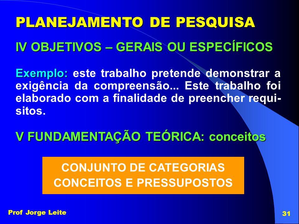 Prof Jorge Leite 31 PLANEJAMENTO DE PESQUISA IV OBJETIVOS – GERAIS OU ESPECÍFICOS Exemplo: Exemplo: este trabalho pretende demonstrar a exigência da c