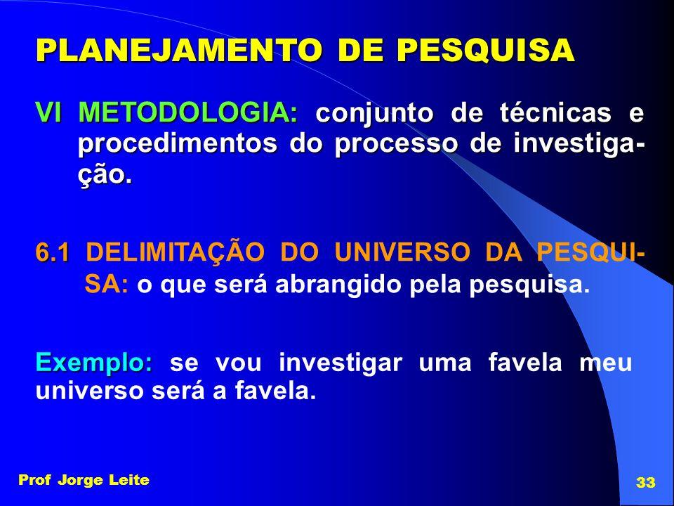 Prof Jorge Leite 33 PLANEJAMENTO DE PESQUISA VI METODOLOGIA: conjunto de técnicas e procedimentos do processo de investiga- ção. 6.1 6.1 DELIMITAÇÃO D