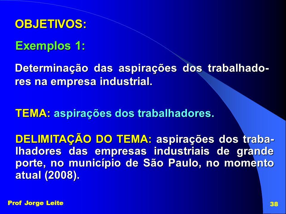 Prof Jorge Leite 38 Determinação das aspirações dos trabalhado- res na empresa industrial. OBJETIVOS: Exemplos 1: TEMA: aspirações dos trabalhadores.