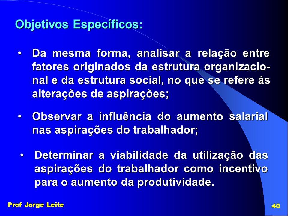 Prof Jorge Leite 40 Objetivos Específicos: Da mesma forma, analisar a relação entre fatores originados da estrutura organizacio- nal e da estrutura so
