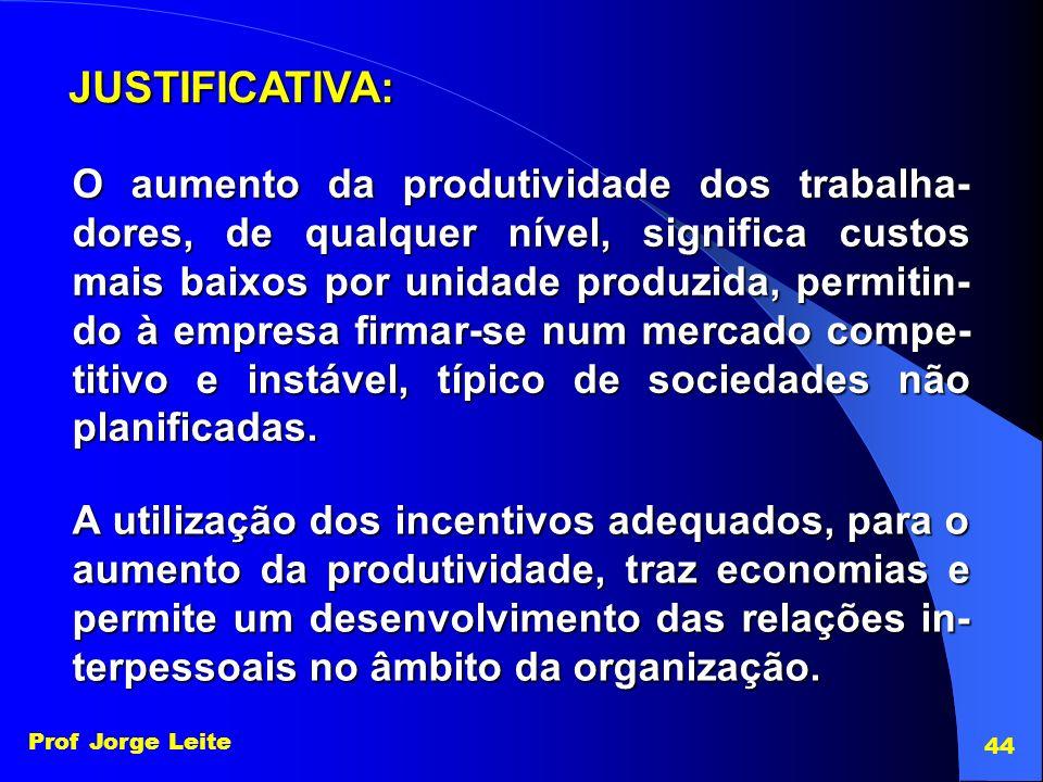 Prof Jorge Leite 44 O aumento da produtividade dos trabalha- dores, de qualquer nível, significa custos mais baixos por unidade produzida, permitin- d