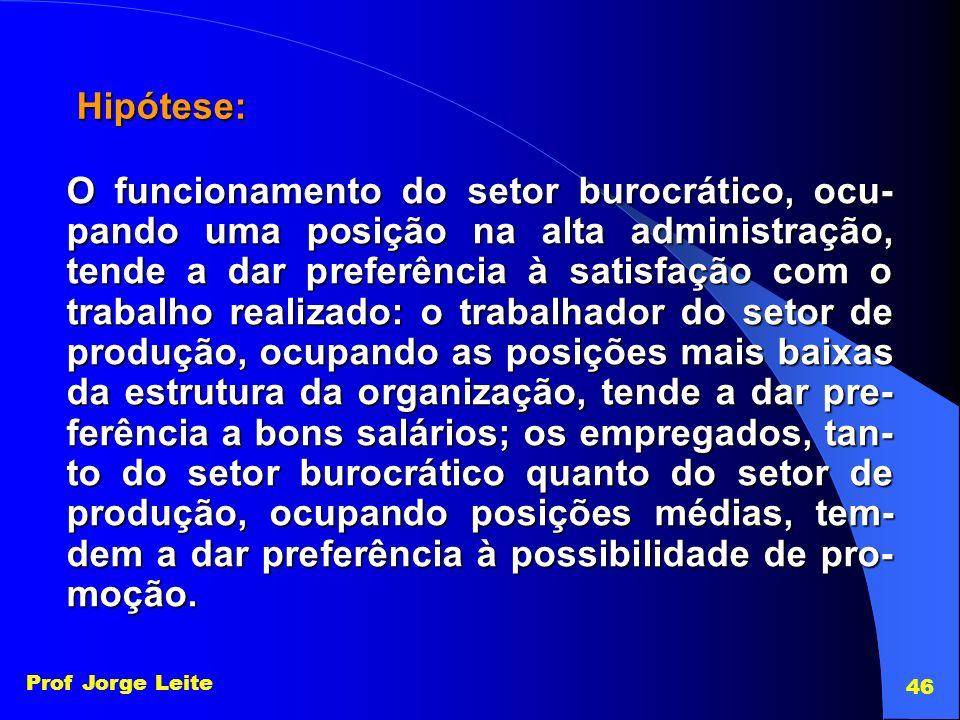 Prof Jorge Leite 46 Hipótese: O funcionamento do setor burocrático, ocu- pando uma posição na alta administração, tende a dar preferência à satisfação