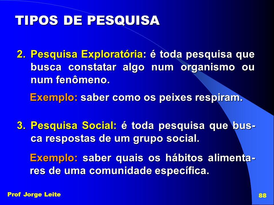 Prof Jorge Leite 88 TIPOS DE PESQUISA 2.Pesquisa Exploratória: é toda pesquisa que busca constatar algo num organismo ou num fenômeno. Exemplo: saber