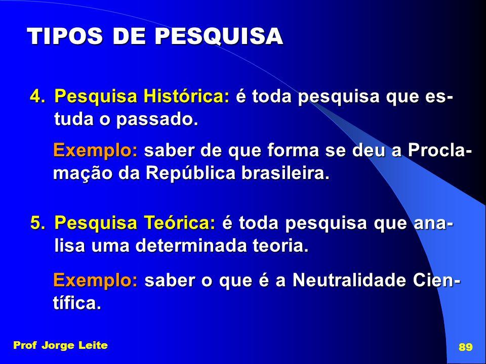 Prof Jorge Leite 89 TIPOS DE PESQUISA 4.Pesquisa Histórica: é toda pesquisa que es- tuda o passado. Exemplo: saber de que forma se deu a Procla- mação