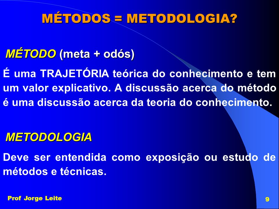 Prof Jorge Leite 9 MÉTODOS = METODOLOGIA? MÉTODO (meta + odós) É uma TRAJETÓRIA teórica do conhecimento e tem um valor explicativo. A discussão acerca