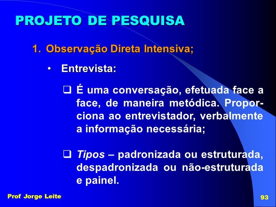 Prof Jorge Leite 93 PROJETO DE PESQUISA 1.Observação Direta Intensiva; Entrevista:Entrevista: É uma conversação, efetuada face a face, de maneira metó