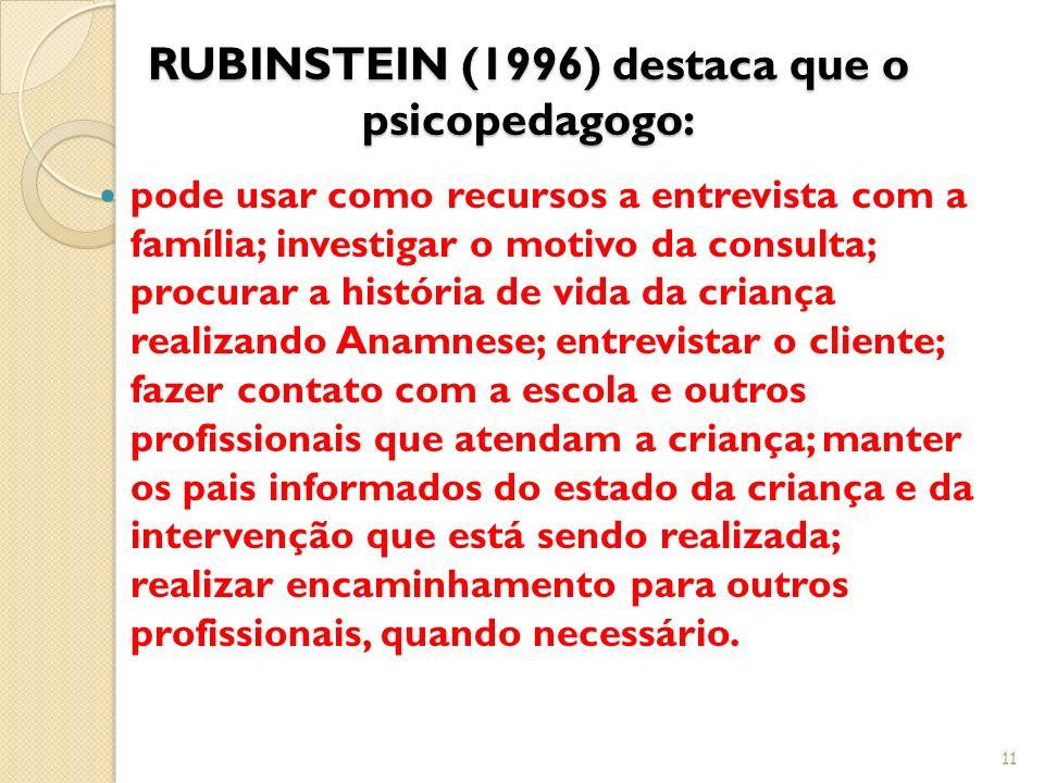 RUBINSTEIN (1996) destaca que o psicopedagogo: pode usar como recursos a entrevista com a família; investigar o motivo da consulta; procurar a históri