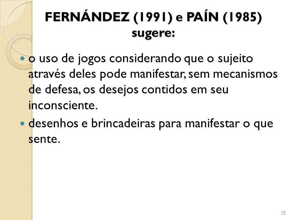 FERNÁNDEZ (1991) e PAÍN (1985) sugere: o uso de jogos considerando que o sujeito através deles pode manifestar, sem mecanismos de defesa, os desejos c