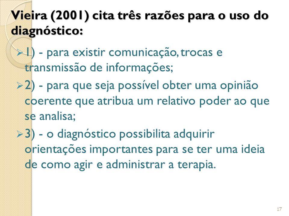 Vieira (2001) cita três razões para o uso do diagnóstico: 1) - para existir comunicação, trocas e transmissão de informações; 2) - para que seja possí